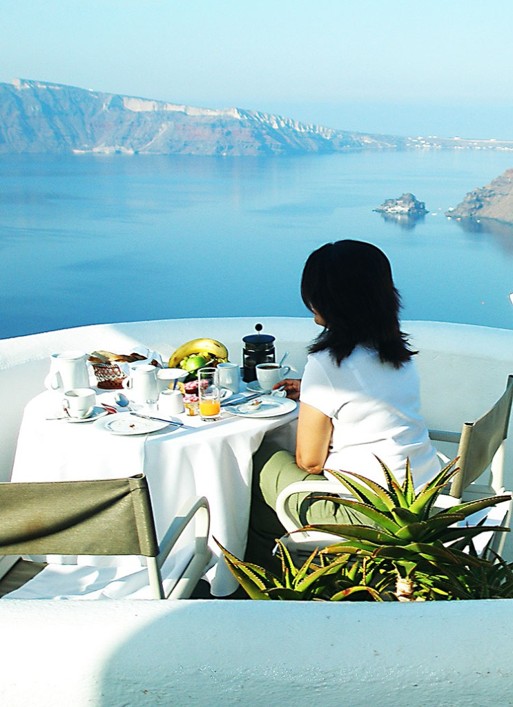 Breakfast on our private terrace - Oia, Santorini, Greece