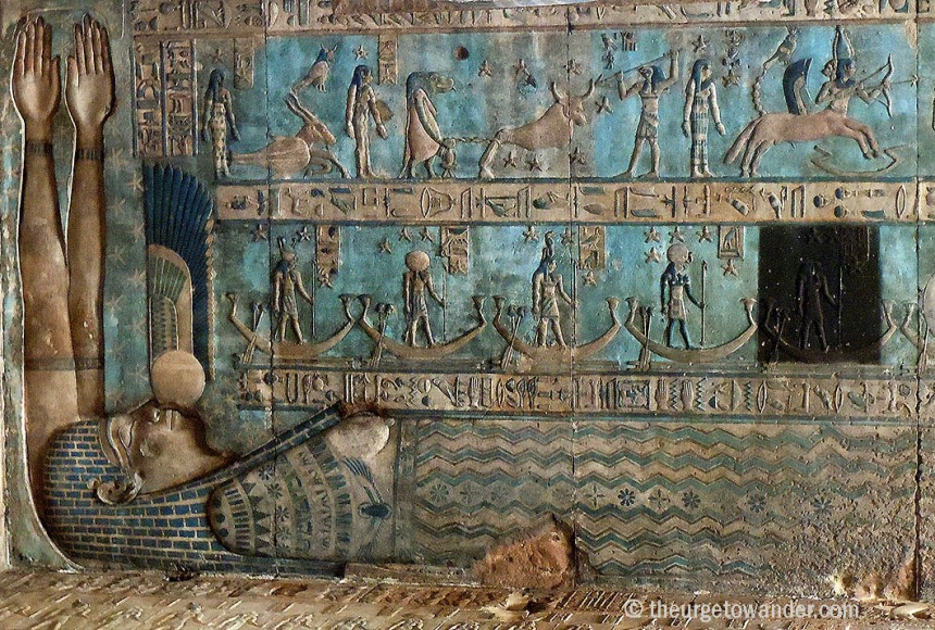 Goddess Nut swallowing the sun in Dendera