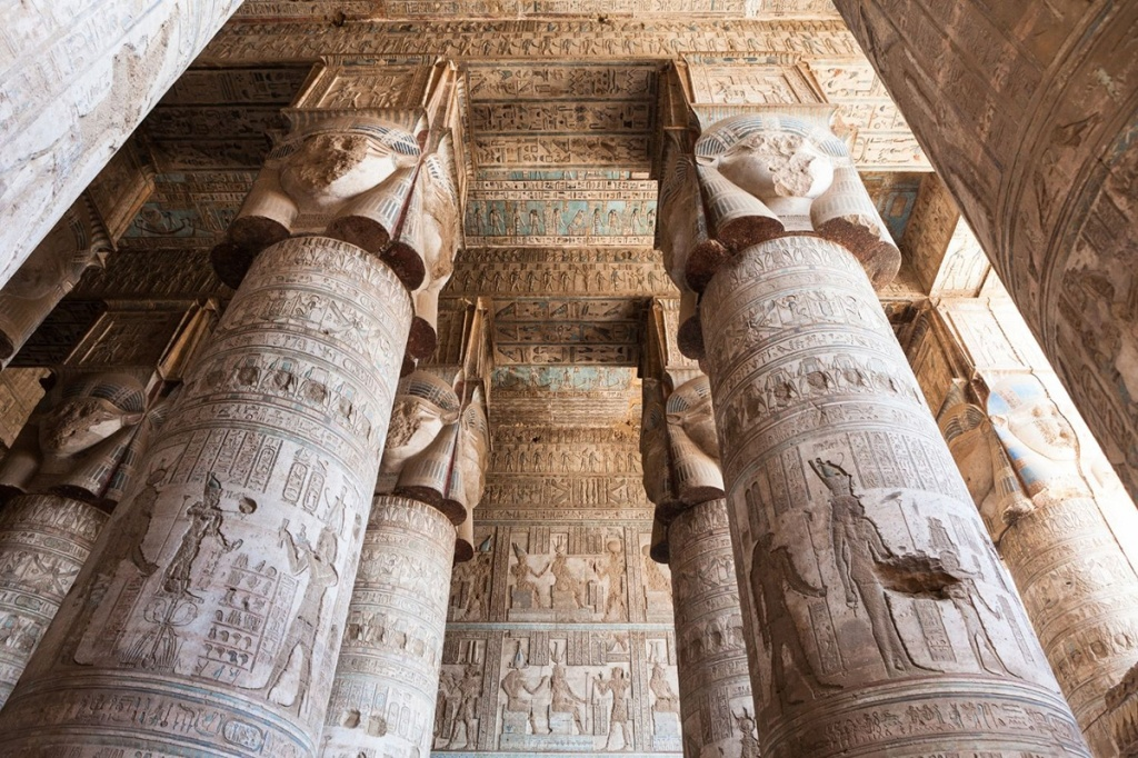 The hypostyle hall of the temple of Hathor, Dendera.