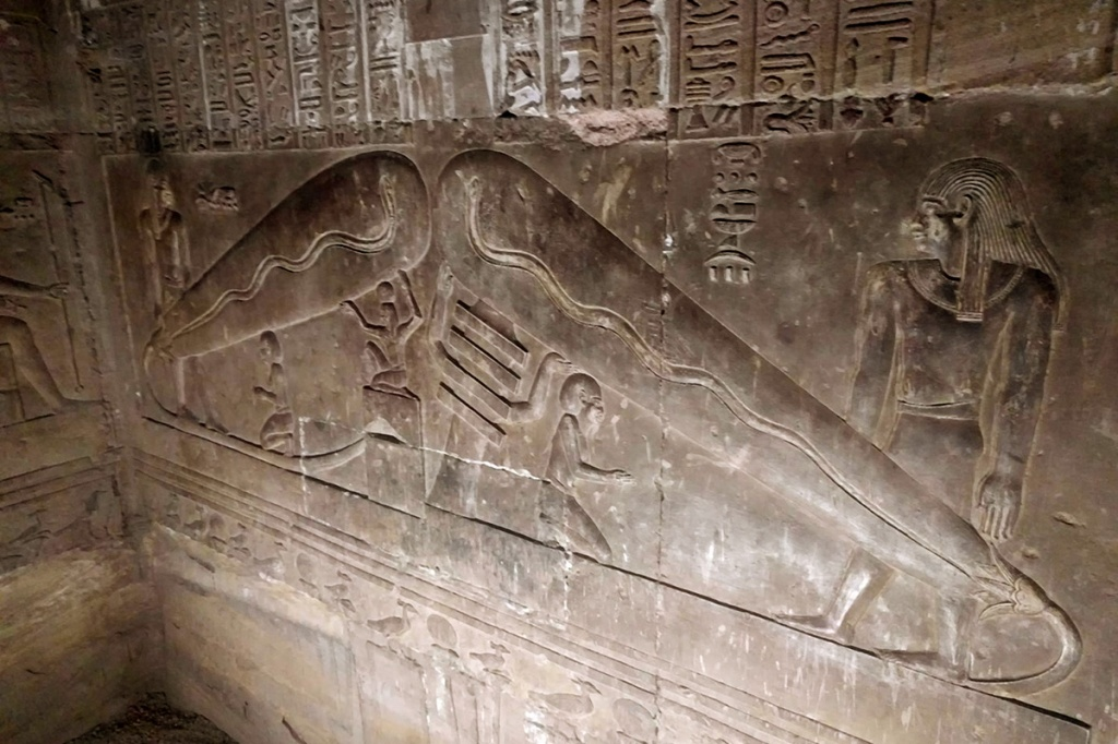 The Dendera Light - Strange relief that resembles a light bulb is actually a djed pillar and a lotus flower spawning a snake. Symbolic of stability and fertility.