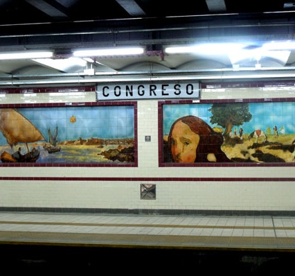 Tile murals in the Estacion Congreso. The A line runs under Avenida de Mayo - from Plaza de Mayo through Congreso, its original terminus, to Carabobo.