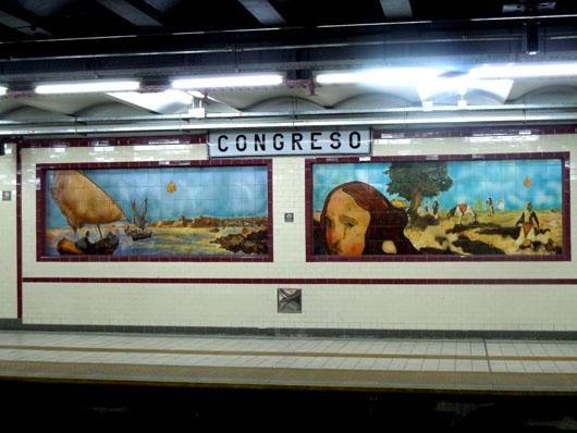 Tile murals in the Estacion Congreso. The A line runs under Avenida de Mayo - from Plaza de Mayo through Congreso, its original terminus, to Carabobo.