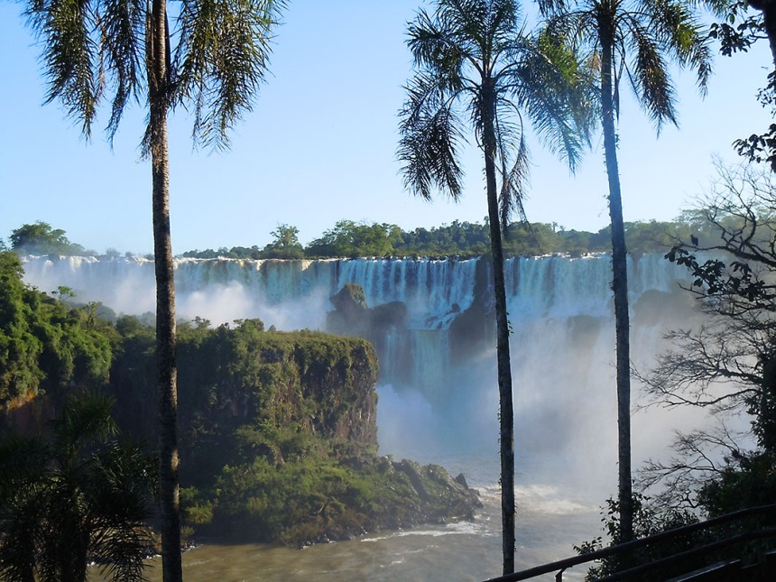 View of lower cicuit walkways from the top - Iguazu National Park, Argentina