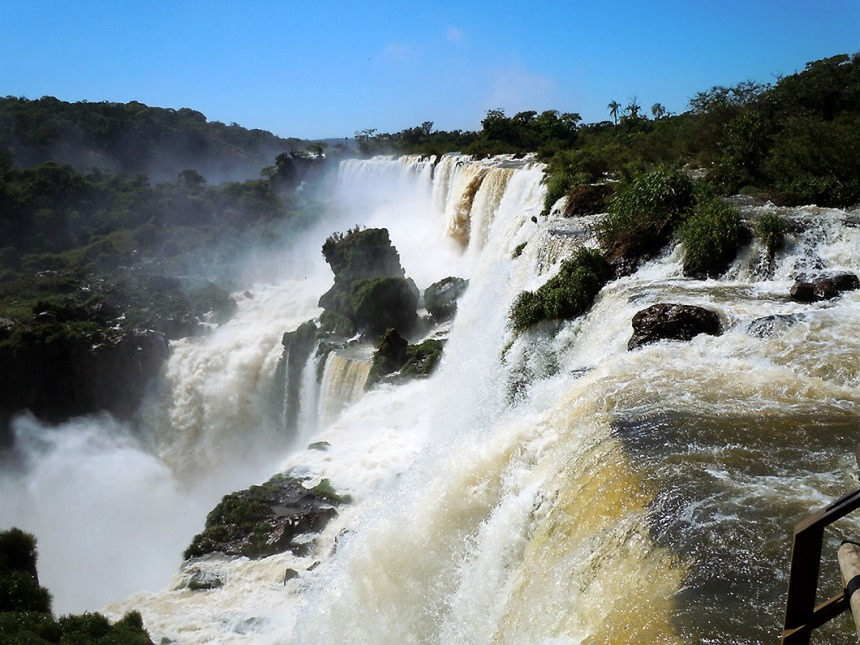 At the lip of one of the larger falls – Iguazu National Park, Argentina