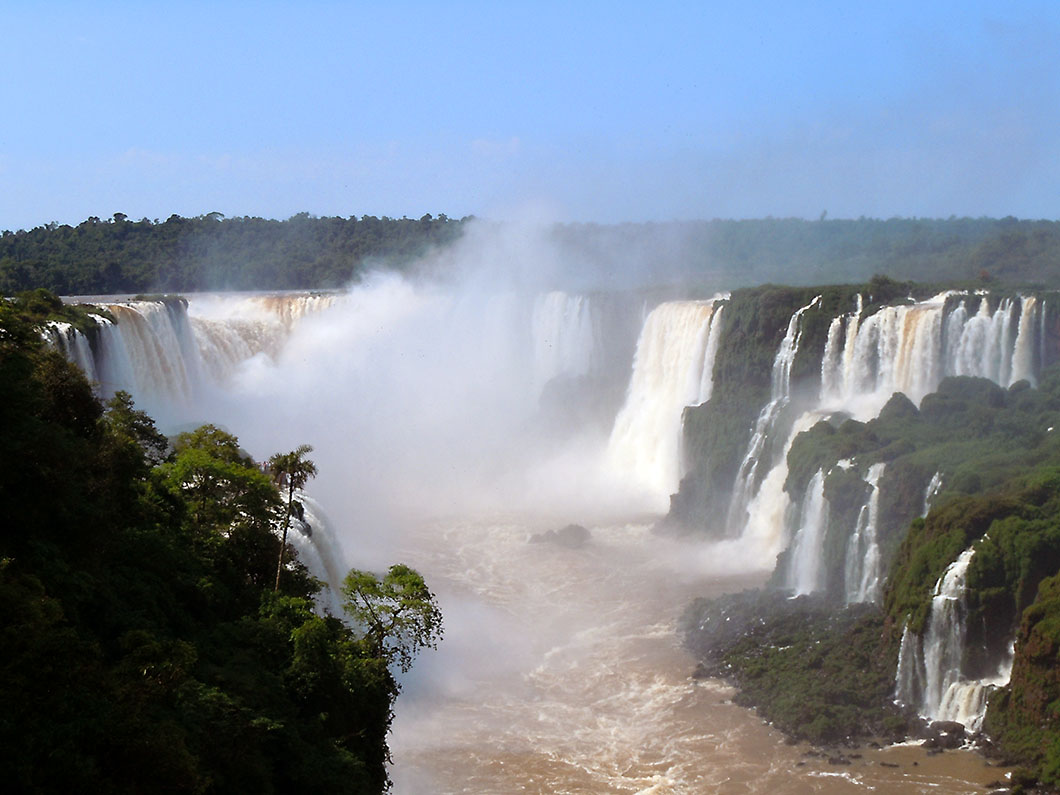View towards Devil's throat - Iguacu National Park, Brazil