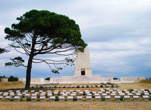 Lone Pine Cemetery and Memorial, Anzac Cove, commemorates by name those of the Australian Imperial Force and the New Zealand Expeditionary Force who were missing in action or buried at sea in the battle of Gallipoli in 1915