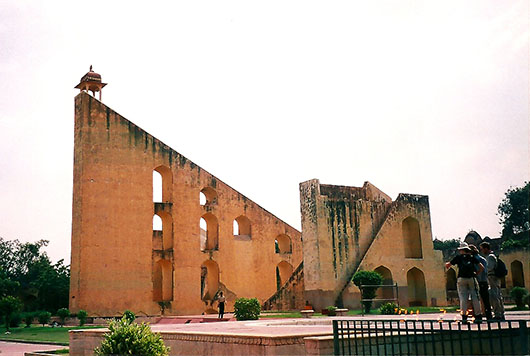 The most striking instrument in the Jantar Mantar, the astronomical observatory built in the 18th century and now a Unesco World heritage site, is the 'Brihat Samrat Yantra'  which is supposedly the largest sundial in the world.