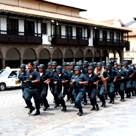 Police drill in the Plaza de Armas