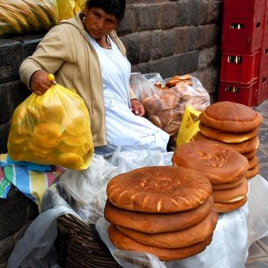 Bread seller - Qosqo, Peru
