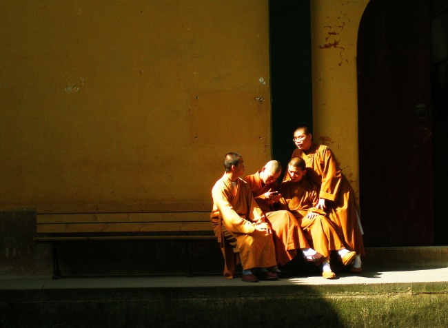 Monks texting - Hangzhou, China