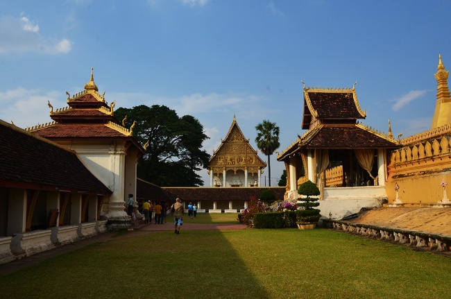 View of the sentinel shrine of Wat That Luang Neua from That Luang