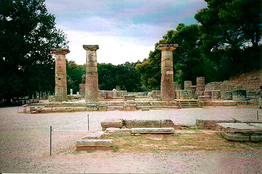 The temple of Hera. In the foreground is the Altar of Olympian Zeus, where the Olympic torch is lit.