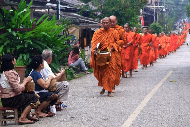 An unending line of orange robed monks walking upto Wat Xiengthong stop for the Alms ceremony on the way.