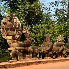 Churning of the ocean of milk at the South Gate of Angkor Thom