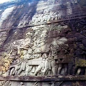 Upper view of bas reliefs, Bayon Temple