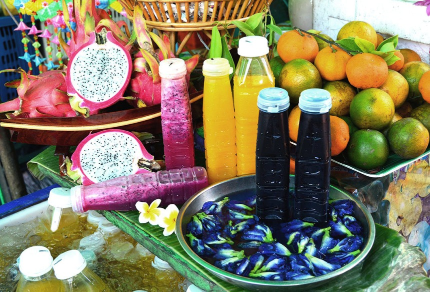 Colourful juice in street market, Bangkok