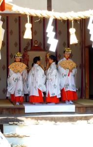 A religious dance in a small shrine in the bylanes of the old town in Takayama, Japan