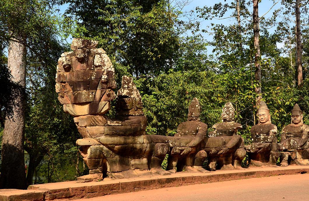 Naga balustrades - Angkor Thom, Cambodia