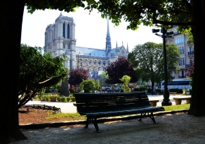 View from the garden in front of St-Julien-le-Pauvre
