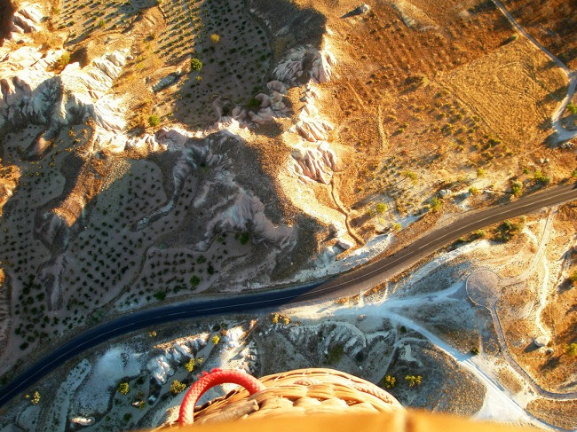 Looking down from our hot air balloon over Cappadocia, Turkey!