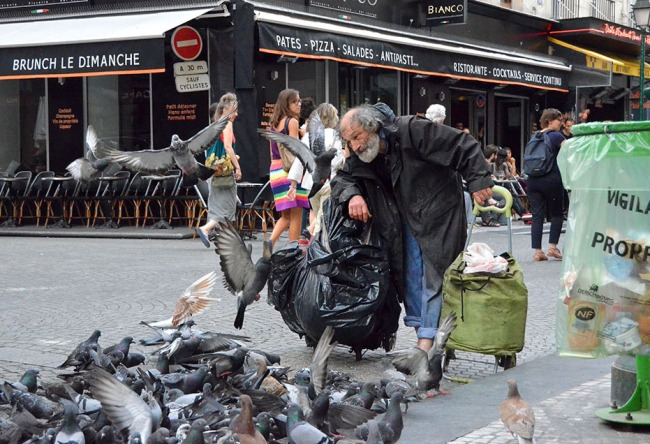 The Pigeon Feeder on Rue Montorgueil, Paris