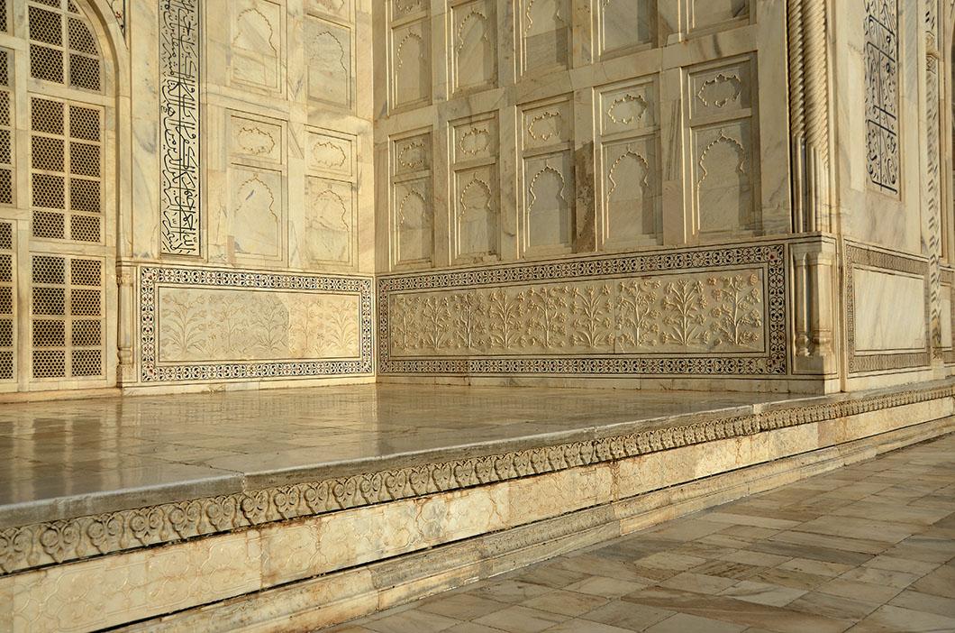 White marble Taj Mahal - White marble dado with bas relief.