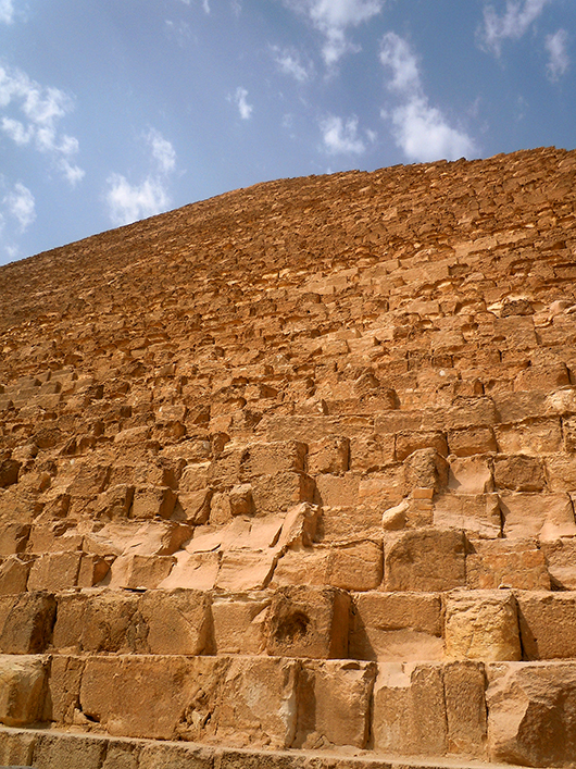 Close up of the Great Pyramid of Khufu - Giza, Egypt