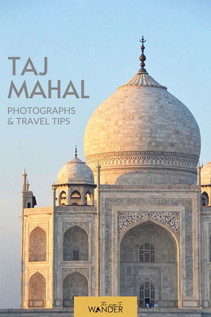 Partly cropped close-up of the Taj Mahal.