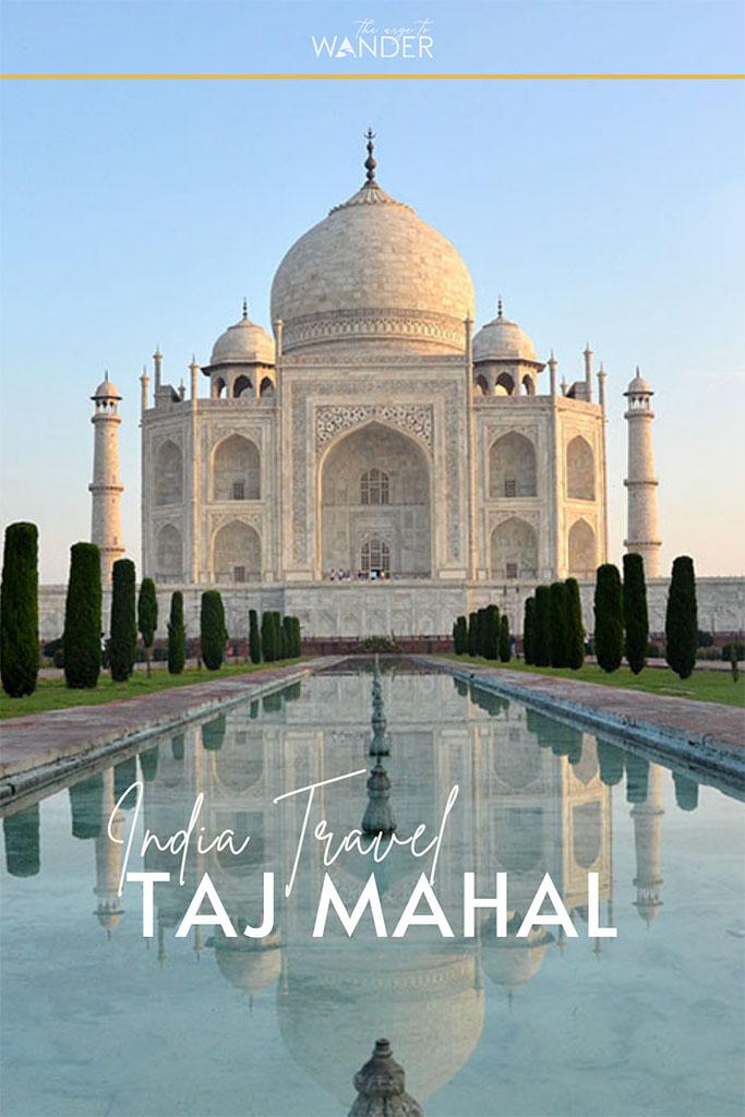 The Taj Mahal and its reflection in the mirroring pool ofTaj Mahal, Agra.
