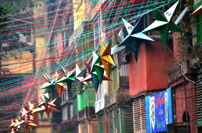 Christmas decorations in Bow Barracks, Calcutta