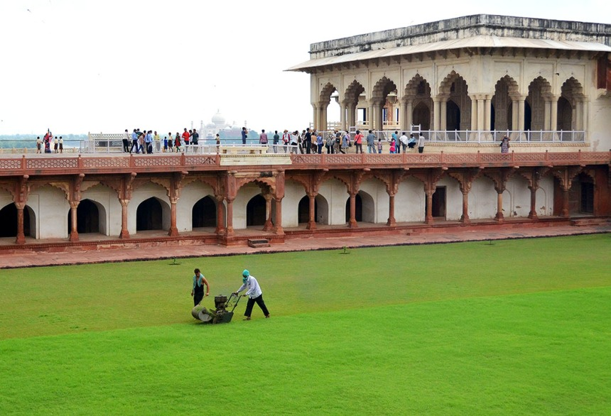 Mowing the lawns of the Agra Fort