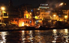 Funeral pyres at Manikarnika Ghat