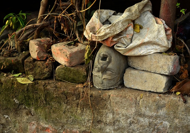 Abandoned Durga head, Kumartuli, Kolkata