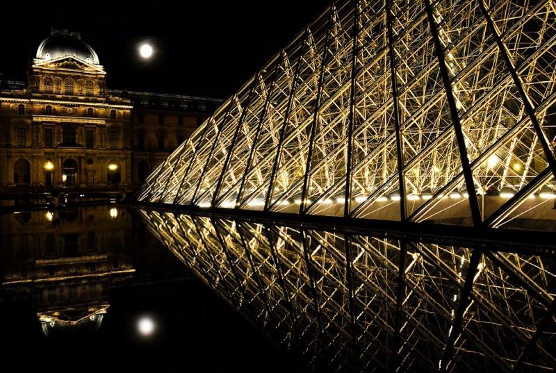 Louvre Pyramid at night - Paris, France