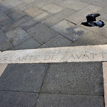 Have no clue what this inscription on the paving of the Piazza means, but I like the look of it!