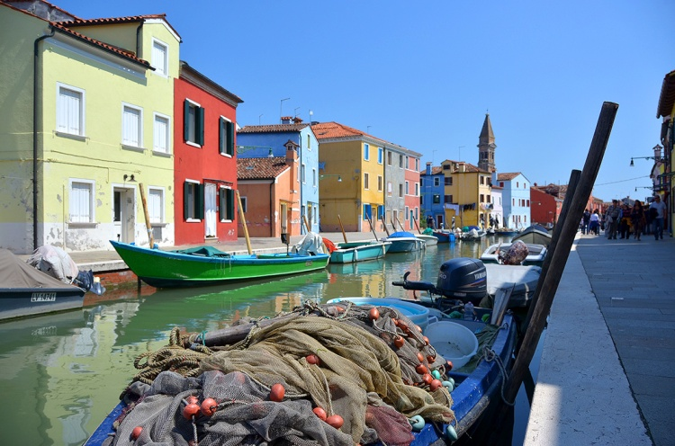 Burano Boats and fishing net.