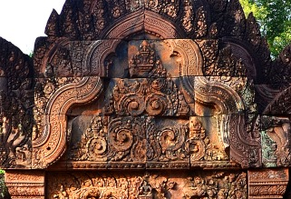 Pediment frieze in Bantea Srei - Siem Reap, Cambodia