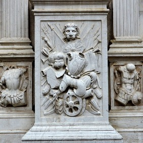 Carved relief on a pedestal in the courtyard of the Doge's Palace.