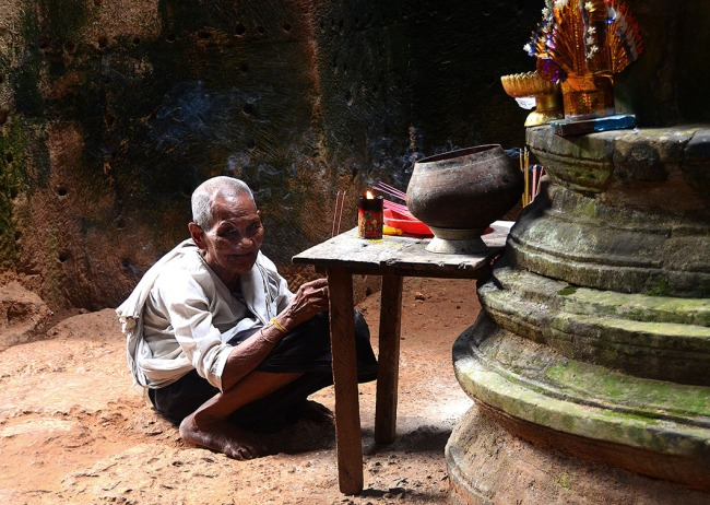 Buddhist Nun, Preah Khan temple - Siem Reap, Cambodia