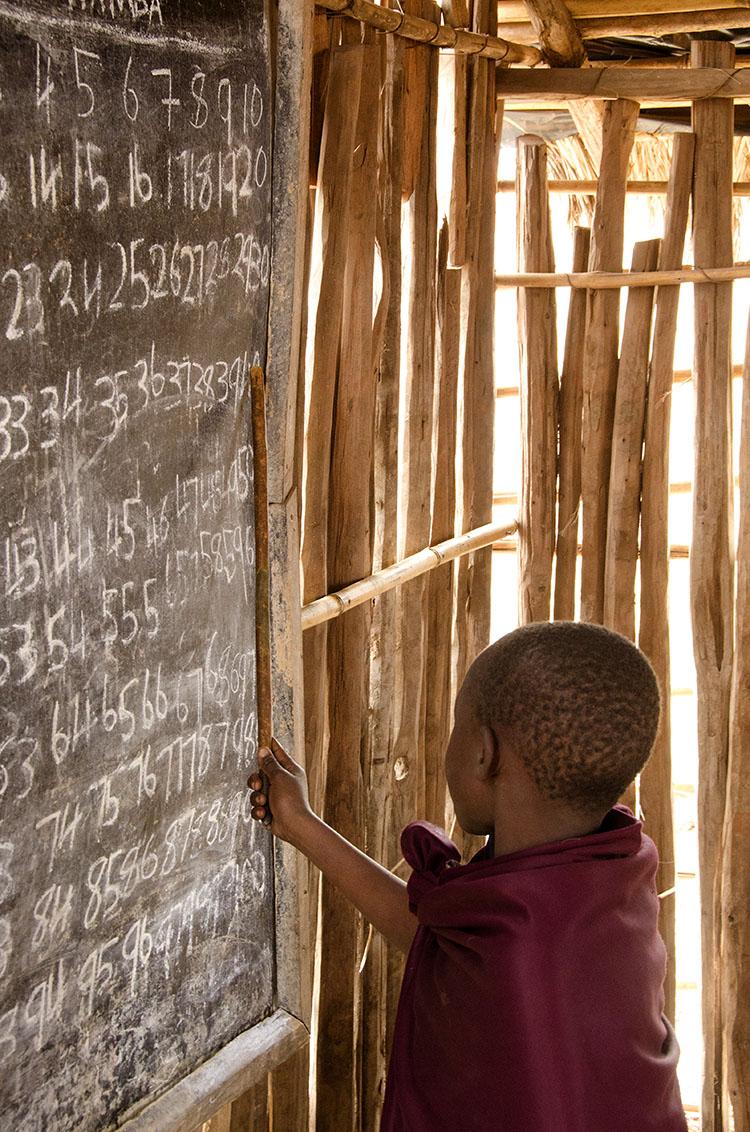 Masaai boy in school