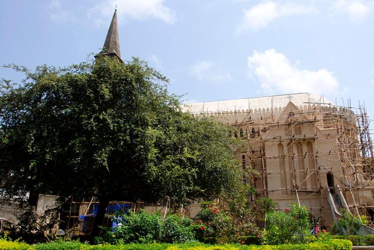 Anglican Christ Church, Zanzibar, under scaffolding.