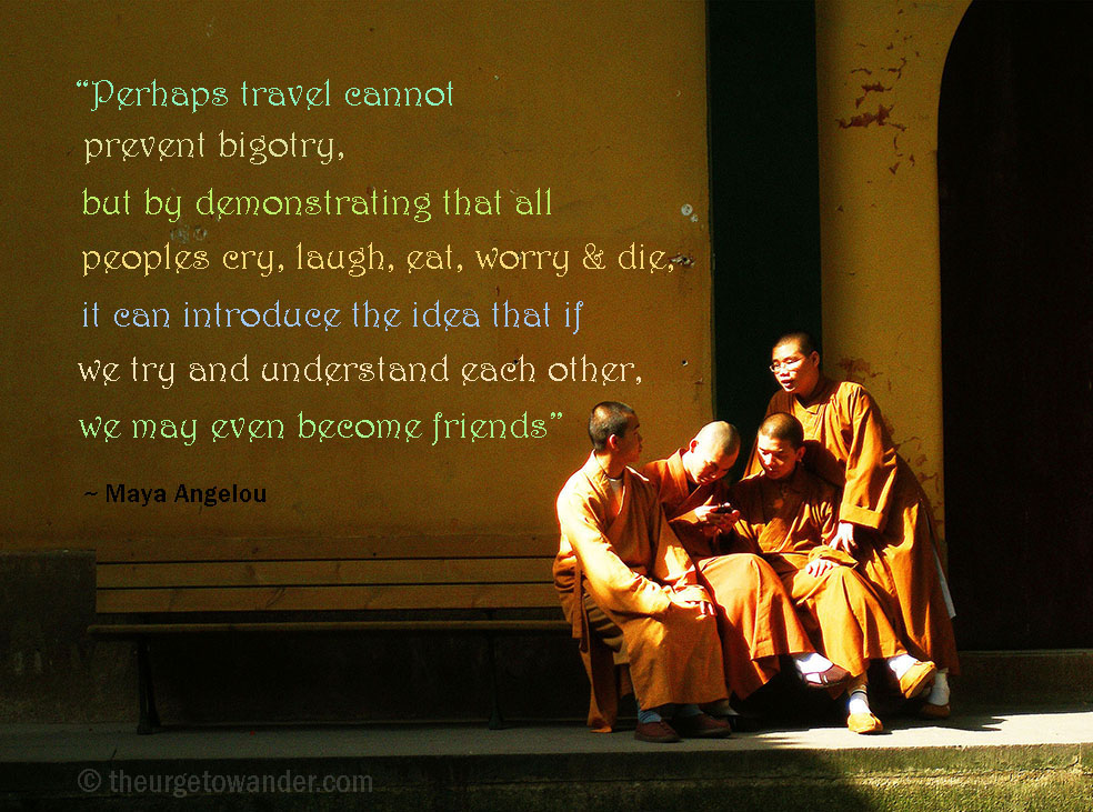 Looking for inspirational travel quotes? Here's a collection paired with my favourite travel photos sure to ignite wanderlust.  Image: Monks with cell phone - Hangzhou, China #travelquotes #adventure, #exploring #travelinspiration