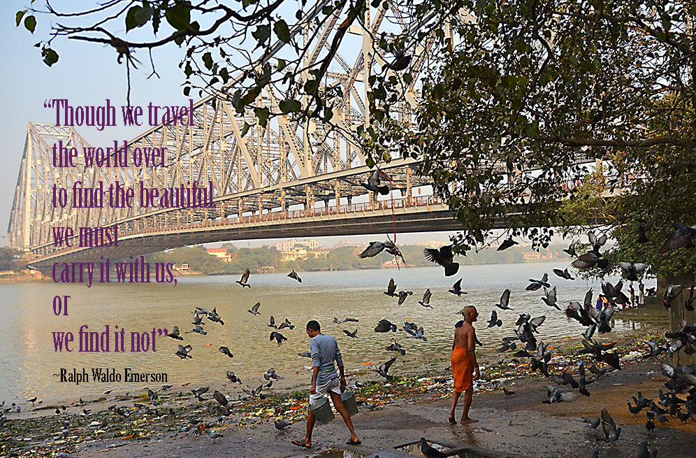 Looking for inspirational travel quotes? Here's a collection paired with my favourite travel photos sure to ignite wanderlust.  Image: Under the bridge in Kolkata #travelquotes #adventure, #exploring #travelinspiration