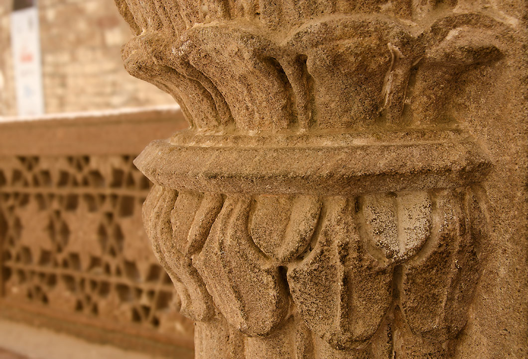 Red sandstone pillar and trellis - Mehrangarh Fort, Jodhpur
