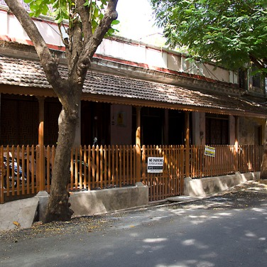 One wouldn't guess from the forlorn exterior of no. 63 that it briefly hosted renowned spiritual reformer Aurobindo when he first arrived in Pondicherry.