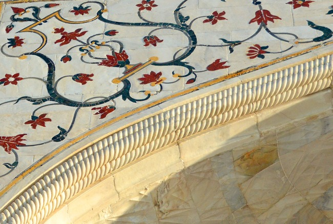 Pietra Dura inlay and marble edge molding - Taj Mahal, Agra