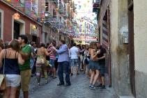 Street party in celebration of the fiesta de la Paloma in Madrid.