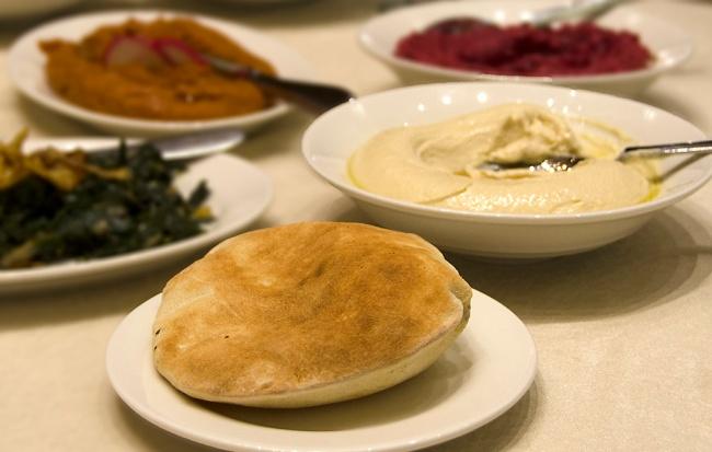 Typical middle Eastern mezze spread.