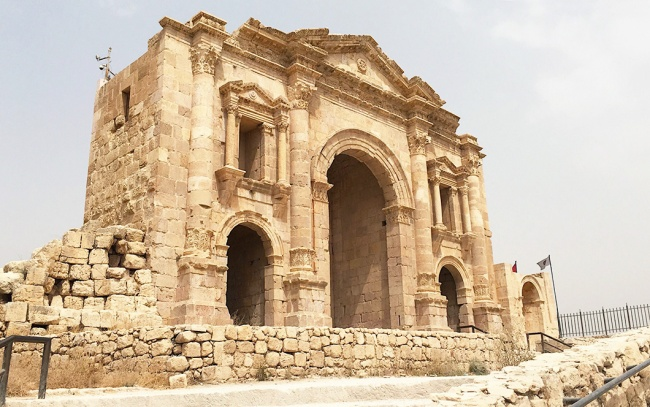 The Arch of Hadrian, constructed to commemorate the emperor's visit to Jerash in 129 AD