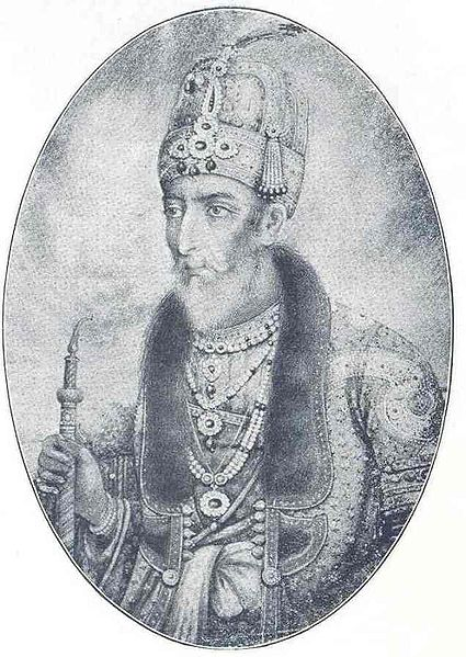 Bahadur Shah Zafar II. That bejewelled head gear is now part of the British Crown Jewels. ( Image courtesy Wikipedia)